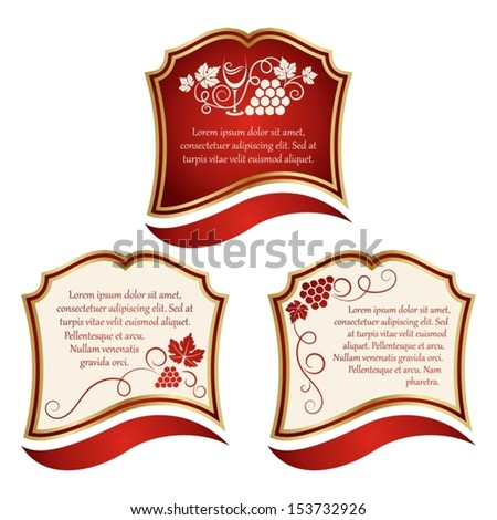 set of wine label  - stock vector