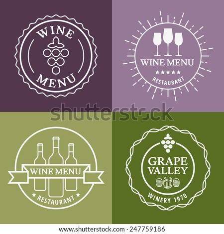 Set of wine signs, badges and labels. Vector line illustration. Concept for bar menu, party, alcohol drinks, celebration holidays, winery, restaurant. - stock vector