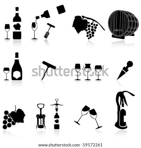 set of wine symbol,the shadow and the icons are set on a different layer - stock vector