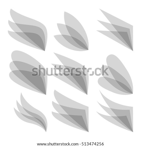 Set of wing logo for business identity. Vector Illustration
