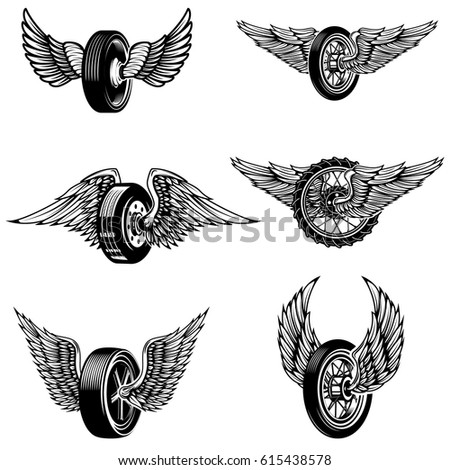 Set Winged Car Tires On White Stock Vector Shutterstock - Car sign with wings