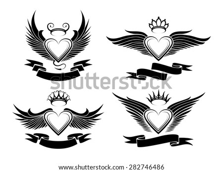 Tribal Heart With Banner Heart With Wing...