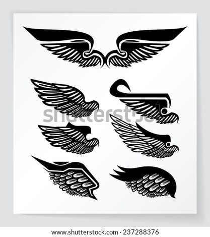 Set of wings. Could be used as tattoos. EPS10.