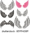 set of wings isolated on White background. Vector illustration - stock vector