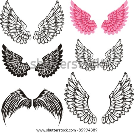 set of wings isolated on White background. Vector illustration