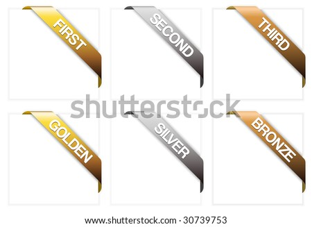 Set of winner corner ribbons - golden, silver, bronze, first, second and third - stock vector