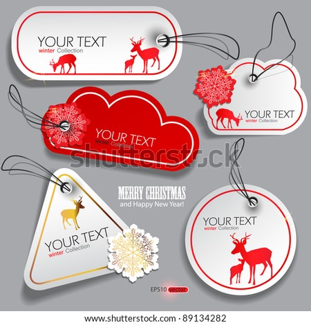Set of winter bubbles, stickers, labels, tags. Vector  illustration - stock vector