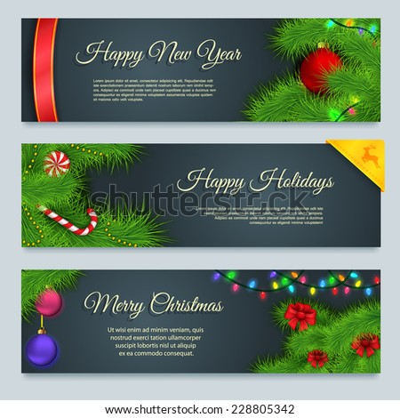 Set of winter Christmas banners, Merry Christmas banners - stock vector