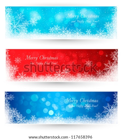 Set of winter christmas banners  Vector illustration - stock vector