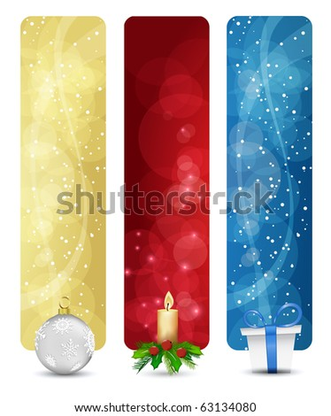 set of winter christmas vertical banners vol. 01 - stock vector