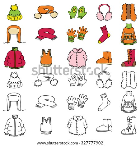 Set of winter clothing icons. Vector doodle illustration. - stock vector