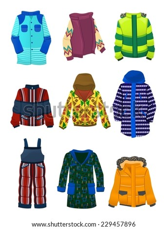 Set of winter jackets for boys isolated on a white background
