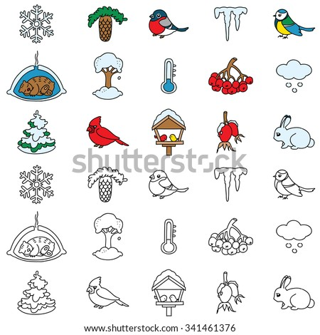 Set of winter nature icons. Vector doodle illustration. - stock vector