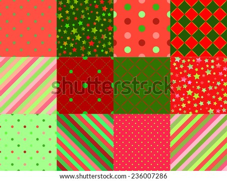 Set of winter red and green variety of seamless patterns - stars, stripes, dots, diamonds for Christmas and new year