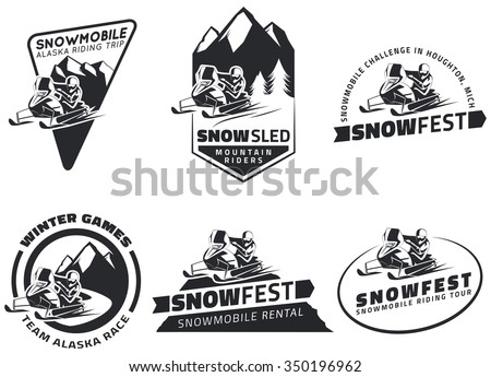 Set of winter snowmobile emblems, badges and icons. Snowmobile winter riding trip, snow sled and design elements. - stock vector