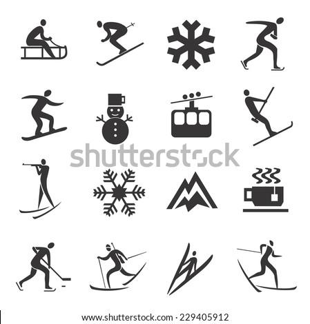 Set of Winter Sport icons Set of black winter sport icons. Vector illustration.  - stock vector