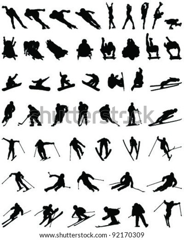 Set of winter sport silhouettes - stock vector