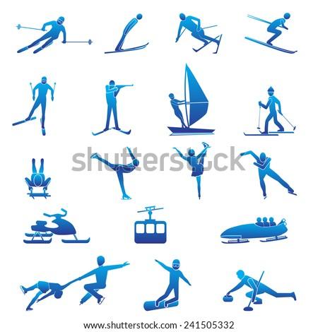 Set of winter sport silhouettes. Vector illustration. - stock vector