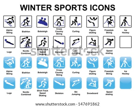 set of winter sports icons - stock vector