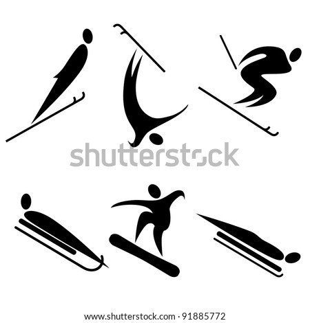 set of winter sports icons.