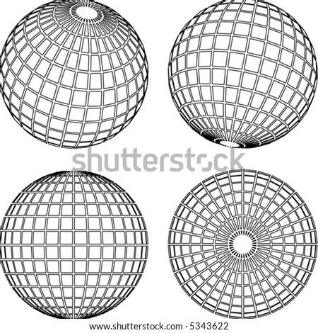 set of wireframe globes/spheres - stock vector