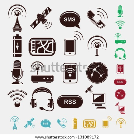 set of wireless icons in five colors - stock vector