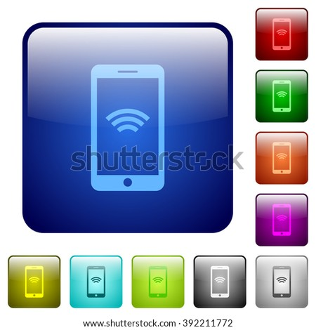 Set of wireless phone color glass rounded square buttons - stock vector