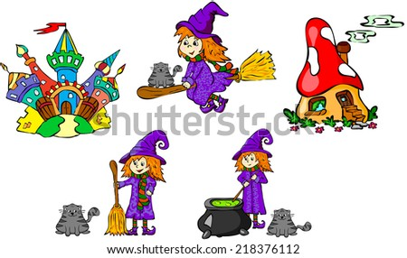 Set of witches and castles. Vector illustration for children