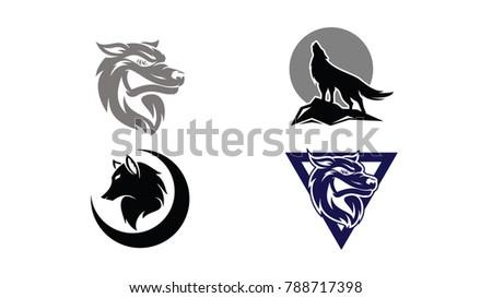 set wolf head logo design template stock vector 788717398 shutterstock