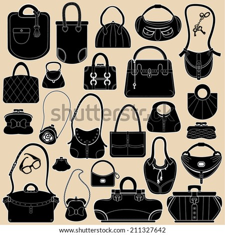 Set of woman bags and handbags. Black and white colors  objects. - stock vector