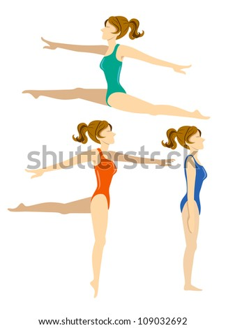 set of woman doing exercise - stock vector