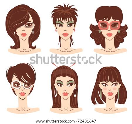 Set of woman portraits - stock vector