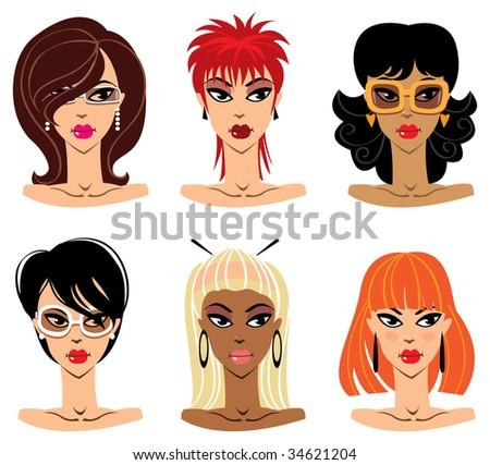 Set of woman portraits, vector illustration - stock vector