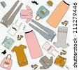 Set of woman`s clothes in last fashion. Seamless vector - stock vector