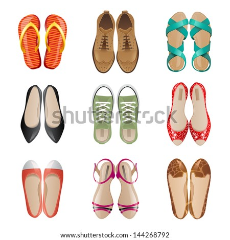 Set of 9 woman shoes icons - stock vector