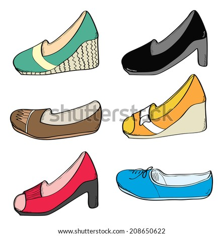 set of woman shoes isolated on white