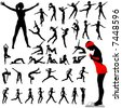 Set of women exercise, do aerobics, calisthenics, dance, run, walk in a group of silhouettes. - stock vector