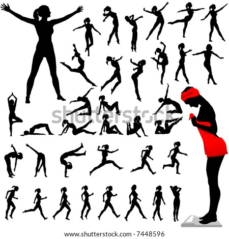 Set of women exercise, do aerobics, calisthenics, dance, run, walk in a group of silhouettes. - stock vector