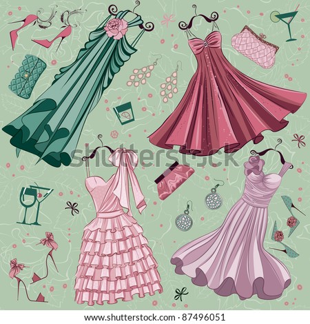 Set of women fashion clothes ans accessories over floral background - stock vector