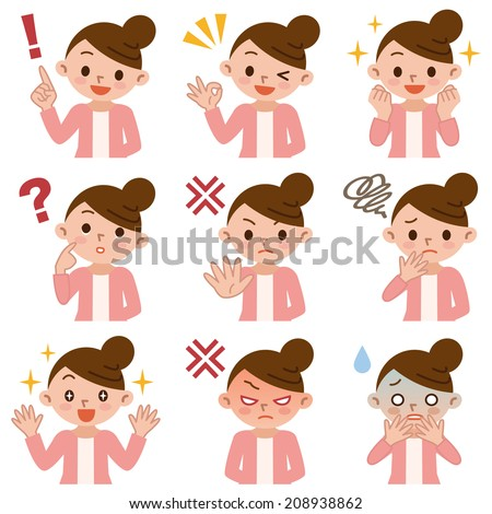 Set of women in various poses - stock vector