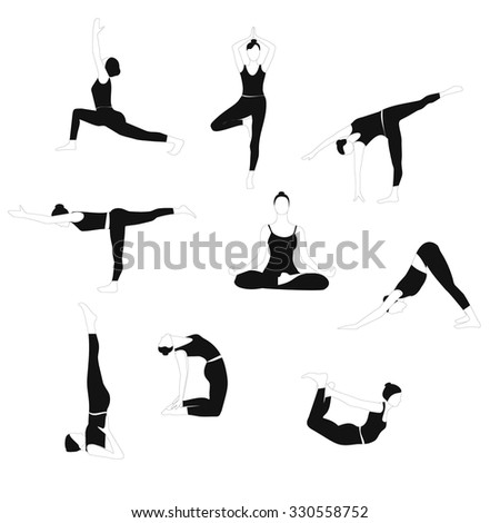 Set of women poses yoga. Black and white silhouettes yoga poses. Vector illustration isolated on white background. - stock vector