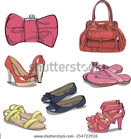 Set of women's shoes and bags.  - stock vector