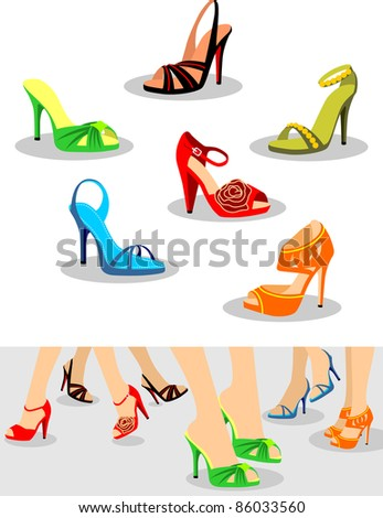 Set of women shoes and Illustration with shoes on legs