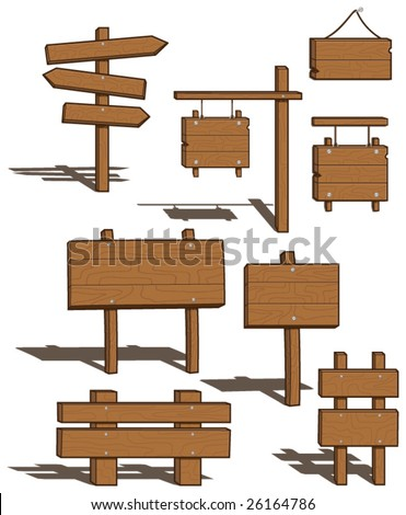 Set of Wood Signs - shadows on separate layer for easy removal - vector illustrations - stock vector