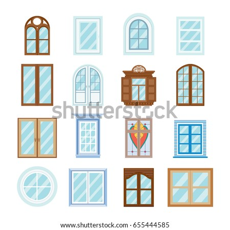 Set wood window frames isolated architecture stock vector for Building window design