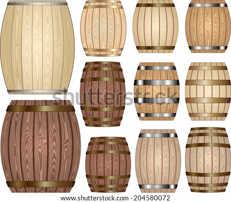 set of wooden barrels - stock vector