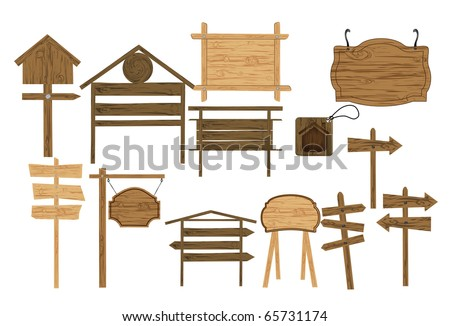 set of wooden billboards signs and tags - stock vector