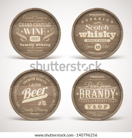 Set of wooden casks with alcohol drinks emblems - vector illustration - stock vector