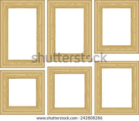 set of wooden frames - stock vector