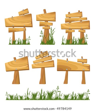 Set of wooden sign - stock vector